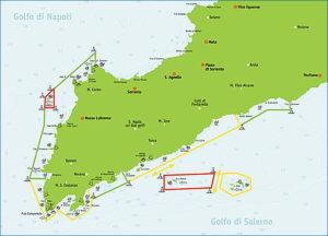 Zone di tutela nell'Area Marina Protetta di Punta Campanella